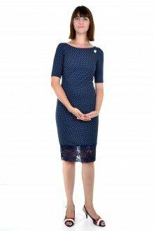 Платье (темно-синее в белый горох + брошь)
