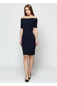 Платье-футляр (темно-синий)