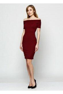 Платье-футляр (темно-бордовый)