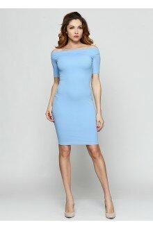 Платье-футляр (шершавый голубой)