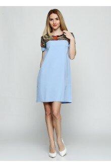 Платье (голубой+узорные плечи)
