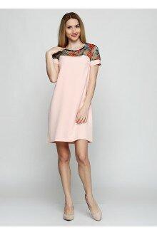 Платье (пудра+узорные плечи)