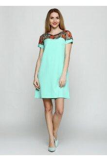 Платье (мятный+узорные плечи)