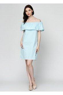 Платье (лазурный+горошек)