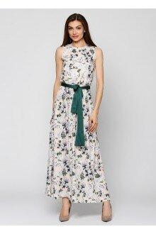 Платье с поясом (персик+цветы)
