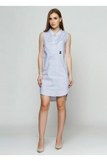 Платье (голубой+зеленые цветки1)