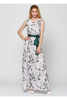 Платье с поясом (пудра+цветки)