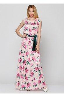 Платье с поясом (пудра+роза)