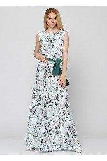 Платье с поясом (голубой+сакура)