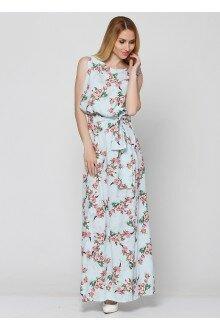 Платье с поясом (бледный+красный цветки)