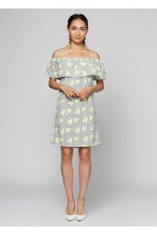 Платье (лимонный+штрих)