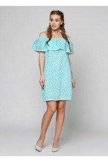 Платье (бирюзовая марля+цветки)
