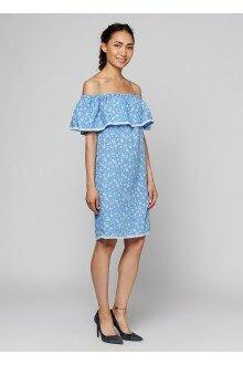 Платье (голубая марля+цветки)