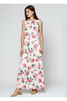 Платье с поясом (желтый+роза)