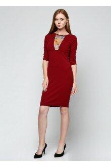 Платье со вставкой (шершавый бордовый)