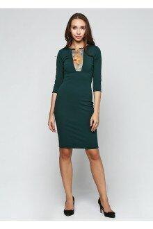 Платье со вставкой (шершавая зеленая бутылка)