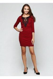 Платье с орнаментом (шершавый бордовый)