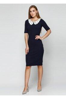 Платье (темно-синий+воротничок)