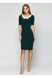 Платье (шершавая зеленая бутылка+воротничок)