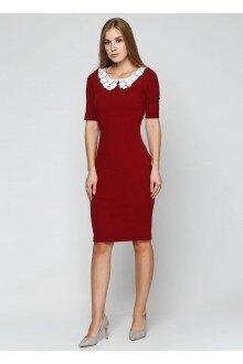 Платье (бордовый+воротничок)